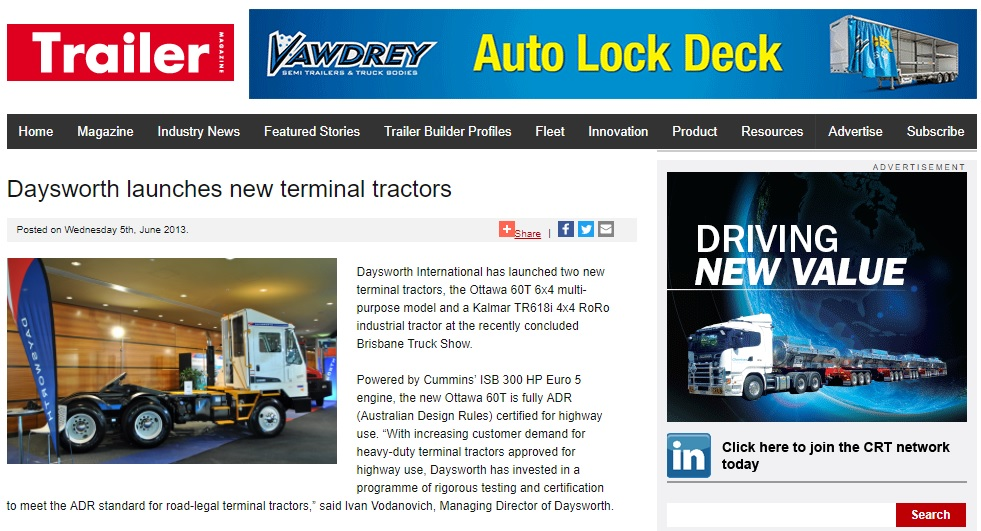 Trailer Magazine Launch New Terminal Tractor